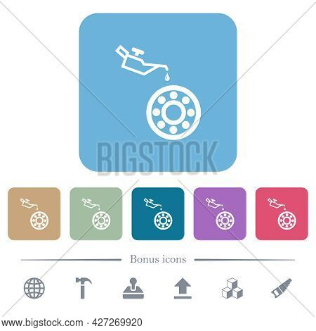 Oiler Can And Bearings White Flat Icons On Color Rounded Square Backgrounds. 6 Bonus Icons Included