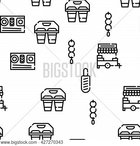 Take Away Food Service Vector Seamless Pattern Thin Line Illustration