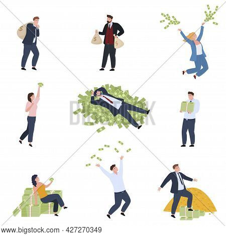 Collection Rich People Enjoying Financial Success Vector Illustration. Lottery Win Business Wealth