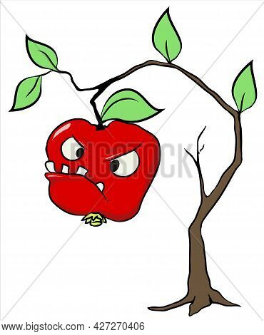 Bad Apple, Cartoon Color Vector Illustration, Horizontal, Over White, Isolated