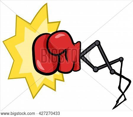 Punching Boxing Glove Extending, Cartoon Color Vector Illustration, Horizontal, Over White, Isolated