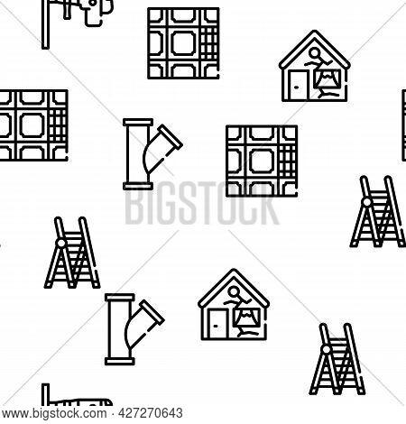 Renovation Home Repair Vector Seamless Pattern Thin Line Illustration
