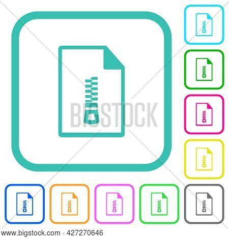 Compressed Document Vivid Colored Flat Icons In Curved Borders On White Background