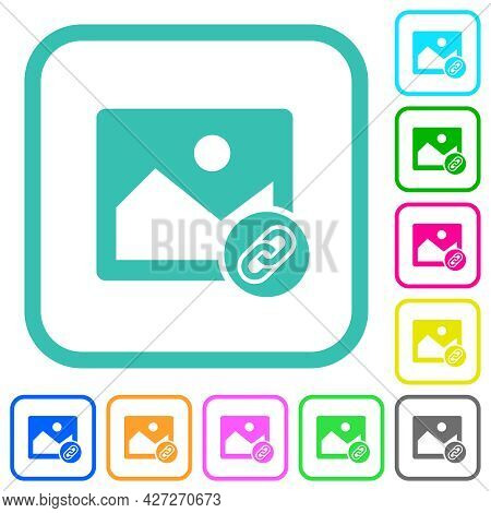 Link Image Vivid Colored Flat Icons In Curved Borders On White Background