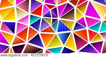 Polygonal Rainbow Mosaic Background. Abstract Low Poly Vector Illustration. Triangular Pattern In Ha
