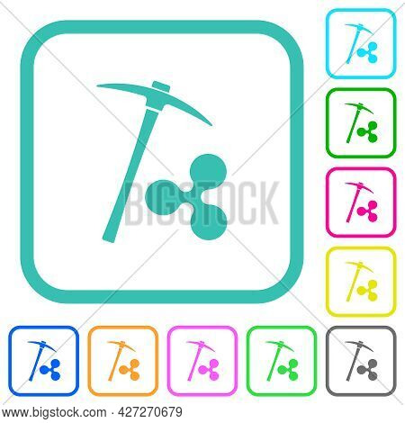 Ripple Cryptocurrency Mining Vivid Colored Flat Icons In Curved Borders On White Background