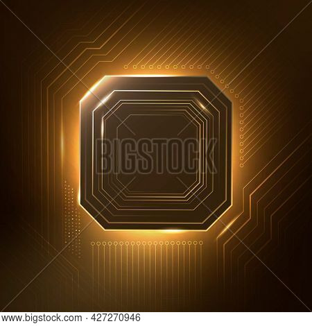 Smart microchip technology background in gradient gold