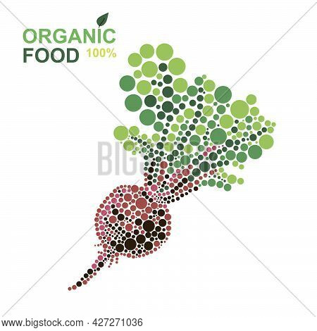 Organic Food Beetroot Made From Dots On A White Background. Natural Product