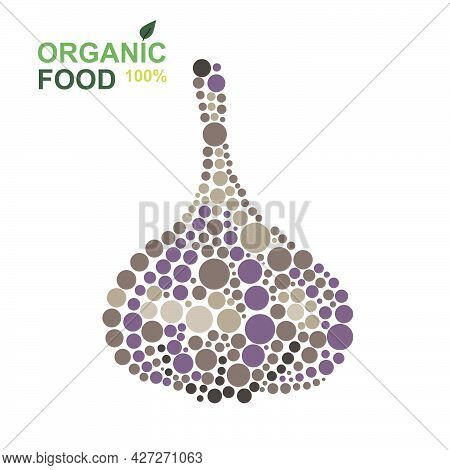Organic Food Garlic Made From Dots On A White Background. Natural Product