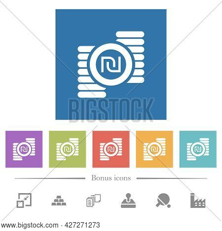 Israeli New Shekel Coins Flat White Icons In Square Backgrounds. 6 Bonus Icons Included.