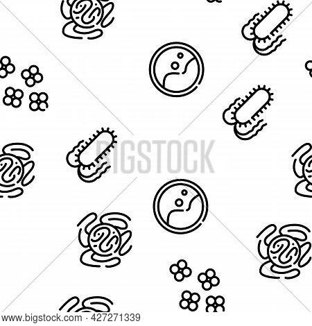 Pathogen Virus Disease Vector Seamless Pattern Thin Line Illustration
