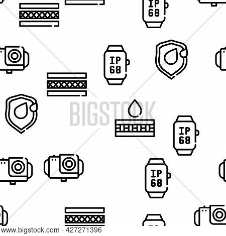 Waterproof Material Vector Seamless Pattern Thin Line Illustration