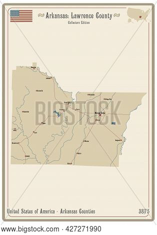 Map On An Old Playing Card Of Lawrence County In Arkansas, Usa.