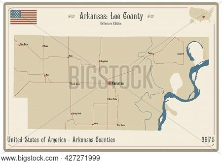 Map On An Old Playing Card Of Lee County In Arkansas, Usa.