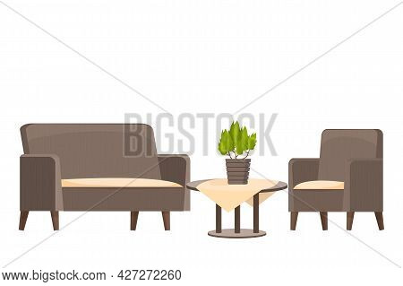 Wooden Round Table With Tablecloth And Armchair With Sofa Textured In Cartoon Style Isolated On Whit