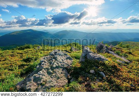 Alpine Meadow Of Carpathian Mountains In Summer. View In To The Distant Valley In Afternoon Light. B