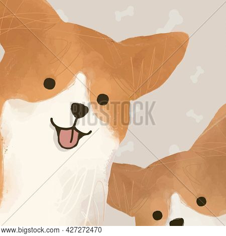 Cute Corgi dog background hand drawn illustration