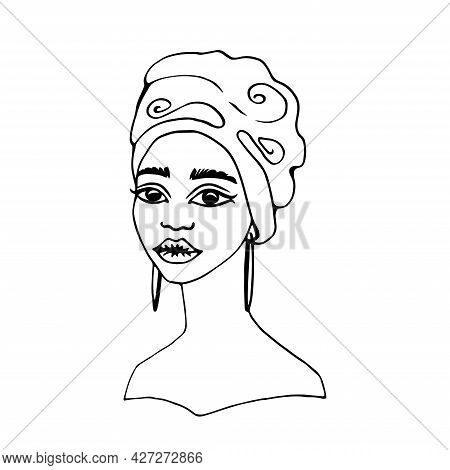 Fashion Portrait Young African Woman In Traditional Turban. Monochrome Linear Drawing. Vector Illust