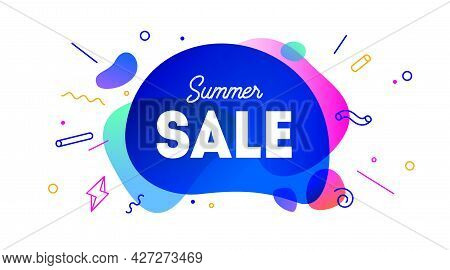 Sale, Speech Bubble. Banner, Poster, Speech Bubble With Text Summer Sale. Geometric Style With Messa