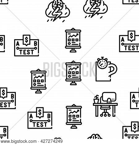 Business Situations Vector Seamless Pattern Thin Line Illustration