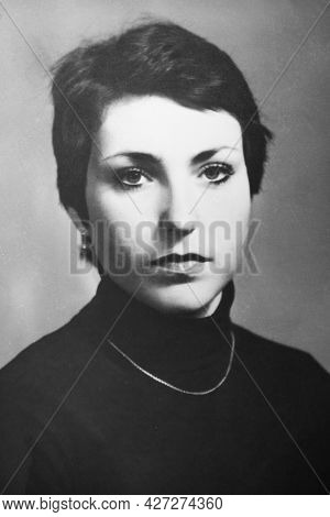 Vintage Black And White Portrait Of  Shorthaired Woman, Close-up. Early 1980s, Outdated Quality. Old