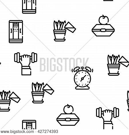 Morning Routine Daily Vector Seamless Pattern Thin Line Illustration