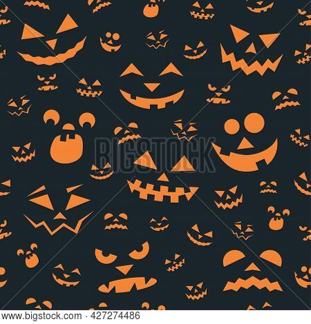 Seamless Pattern With Orange Halloween Pumpkins Faces On Dark Background. Can Be Used For Printing O