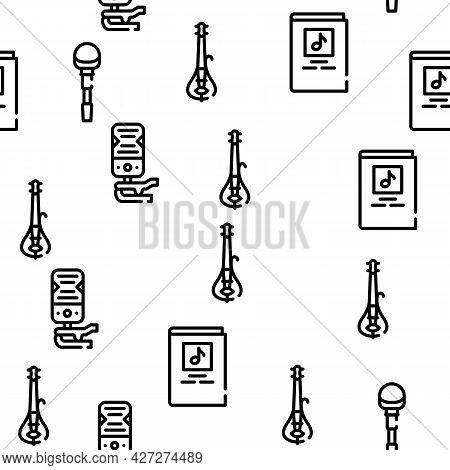 Violin String Musical Instrument Vector Seamless Pattern Thin Line Illustration