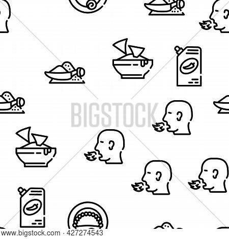Dish Flavor Food Vector Seamless Pattern Thin Line Illustration