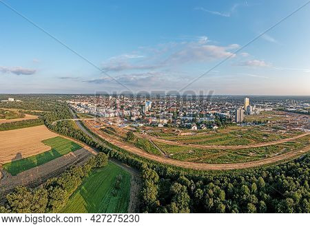 Drone Image Of German City Langen In Southern Hesse During Sunset
