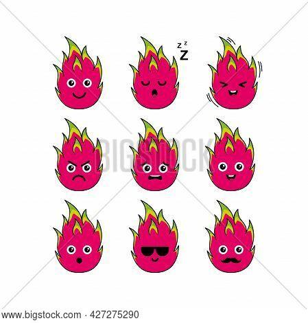 Cute Dragon Fruit Character Set Illustration Design, Collection Of Cute Dragon Fruit Emoji Template