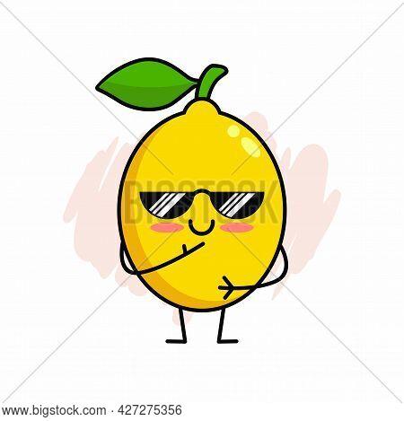 Cartoon Of Cute Lemon Character Design, Lemon Icon With Sunglasses Illustration Template Vector
