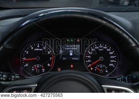 Novosibirsk, Russia - July 07, 2021:   Kia Sportage, Round Speedometer, Odometer With A Range Of 208