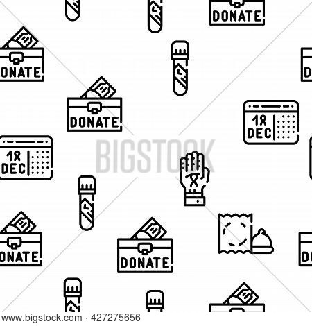 Hiv And Aids Disease Vector Seamless Pattern Thin Line Illustration