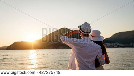 Couple Walking On Romantic Beach, Travel Honeymoon Vacation Summer