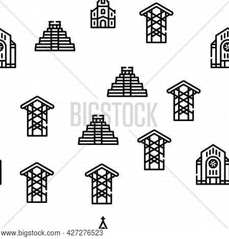 Temple Construction Vector Seamless Pattern Thin Line Illustration