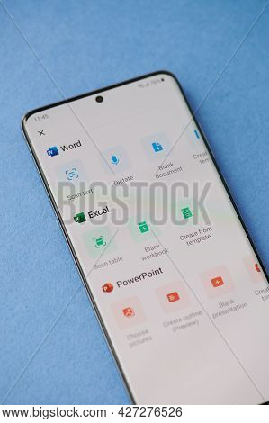 New York, Usa - June 28 2021: Set Of Microsoft Office Apps  On Smartphone Screen Close Up