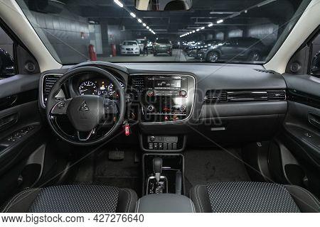 Novosibirsk, Russia - July 07, 2021:   Mitsubishi Outlander, Car Interior - Steering Wheel, Shift Le