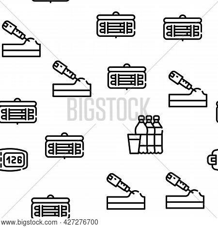 Diabetes Ill Treatment Vector Seamless Pattern Thin Line Illustration