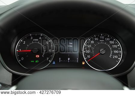 Novosibirsk, Russia - July 07, 2021:   Renault Arkana, Round Speedometer, Odometer With A Range Of 2
