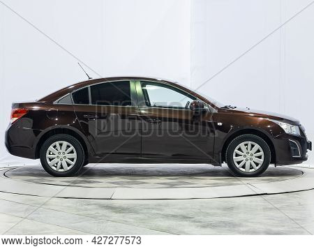 Novosibirsk, Russia - July 07, 2021:   Chevrolet Cruze, Side View. Popular Car On A Parking
