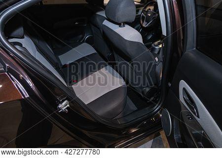 Novosibirsk, Russia - July 07, 2021:   Chevrolet Cruze, Comfort Car Inside. Clean Car Interior: Blac