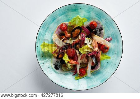 Mussels Vongole With Salad, Mussels, Appetizer Of Mussels And Other Seashells Top View, Copy Space