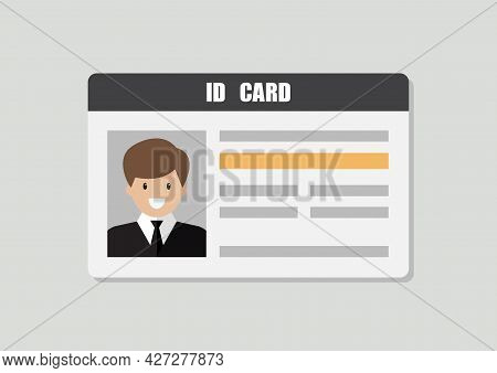 Id Card With Male Photo Vector Illustration. Flat Style Personal Identity