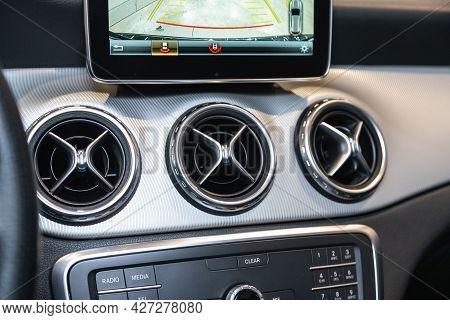 Novosibirsk, Russia - July 07, 2021:   Mercedes-benz Gla-class, Close Up Deflector,  Car Ventilation