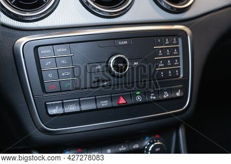 Novosibirsk, Russia - July 07, 2021:   Mercedes-benz Gla-class, A Close Up On A Black Panel With Rad