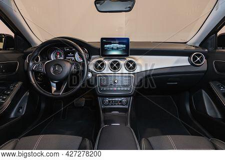 Novosibirsk, Russia - July 07, 2021:   Mercedes-benz Gla-class, Car Interior - Steering Wheel, Shift