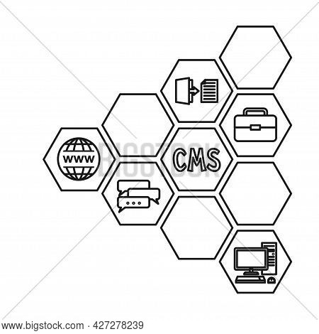 Line Art Black And White Pattern Of Cms Elements. Hexagon Arrow Point Left