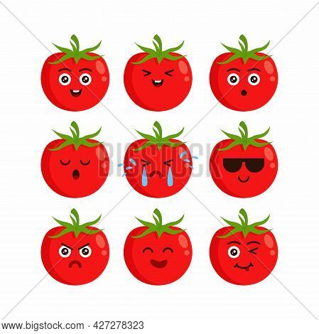 Cute Flat Red Tomato Character Set Illustration Design, Tomato Cartoon Emoji Characters Template Vec