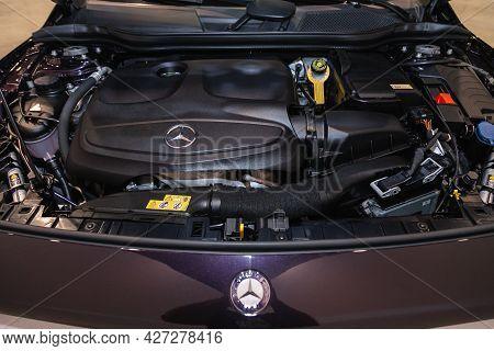 Novosibirsk, Russia - July 07, 2021:   Mercedes-benz Gla-class, Close Up Detail Of New Car Engine